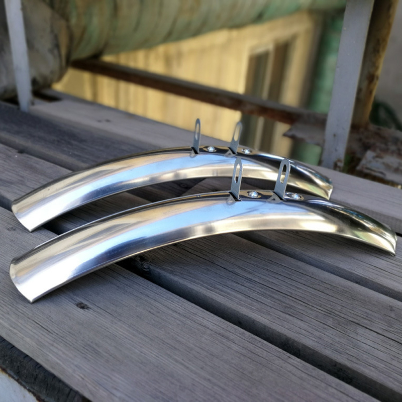 Road Bike Fenders Bicicleta  Silver 1 Pair Front And Rear Retro 27 Inches 700C Fixie Bike Fender Bicycle Practical Parts