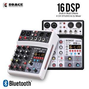 4 canais de áudio misturador de som misturando dj console usb com 48v phantom power 16 efeitos dsp