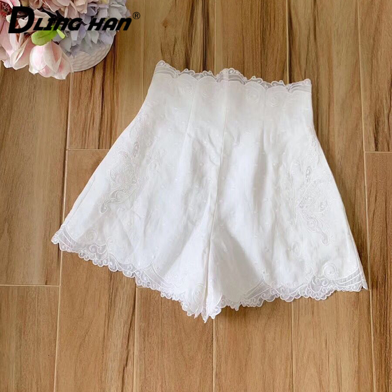 LINGHAN  Fashion Butterfly Embroidery COTTON Linen Shorts High Waist Beach Vacation Shorts Designer Spring Summer New