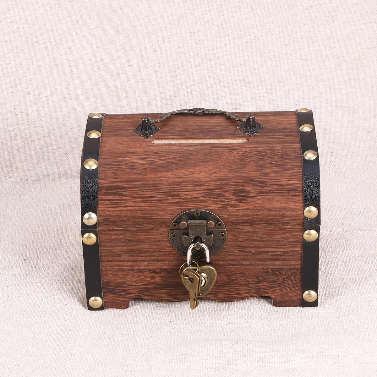 VINTAGE Treasure กล่องเก็บ Pirate Treasure Chest Piggy Bank Organizer กล่องประหยัดไฟล็อคสำหรับ Home