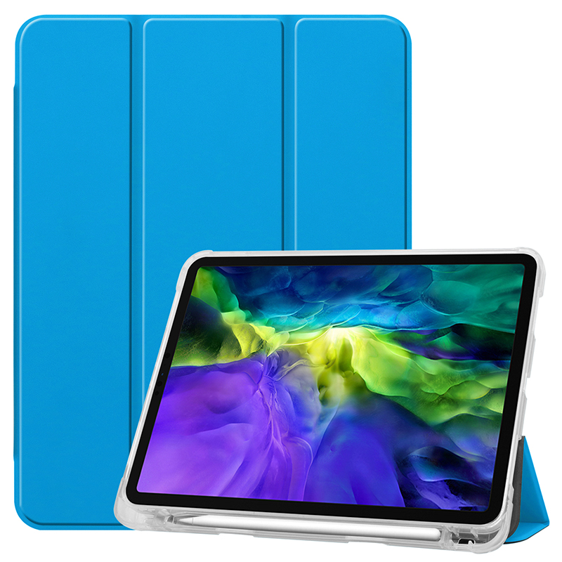 Sky Blue White Clear TPU case with pencil slot for 2020 iPad Pro 11 inch A2228 A2068 A2230 transparent