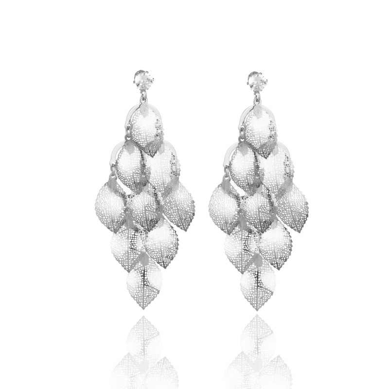 925 Sterling Silver Clover Leaves Jewerly Stud Earring Gold Silver Color Charming Long tassel Earirng For Women