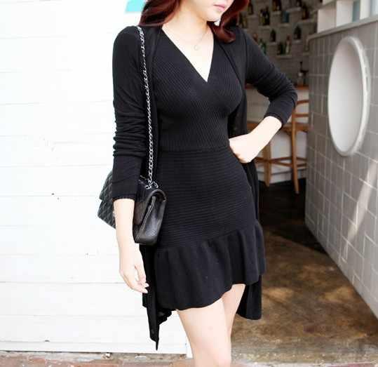 Lcybhe 여성 의류 v-목 슬림-긴팔 드레스 니트 엉덩이 주름 치마 스웨터 스커트 48l의 새로운 한국어 버전
