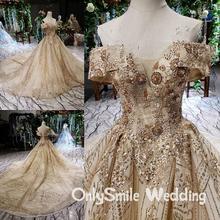 Flauschigen Off Schulter Hochzeit Kleider Golded Spitze Kristall Perlen Luxus Brautkleider Brautkleid 2019 Real Photo