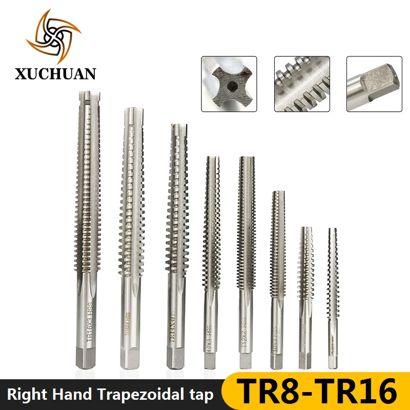 1pc High Speed Steel Right Hand Thread Tap TR8-T16 Machine Plug Tap Straight Flute Trapezoidal Tap Screw Tap Drill