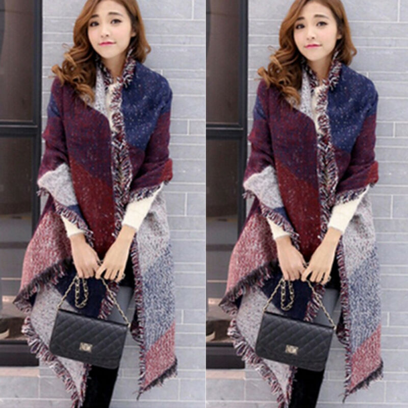 2019 Winter Warm Fashion Large Scarves Women's Thick Long Cashmere Winter Wool Blend Soft Plaid Scarf  Shawl Wrap Plaid Scarf