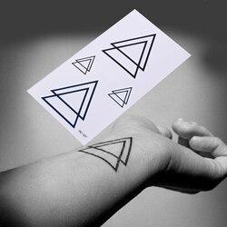 Body Arm Men Fake Tatoos Waterproof Temporary Sticker Geometric Planet Jellyfish Tattoo Black Triangle Tattoos