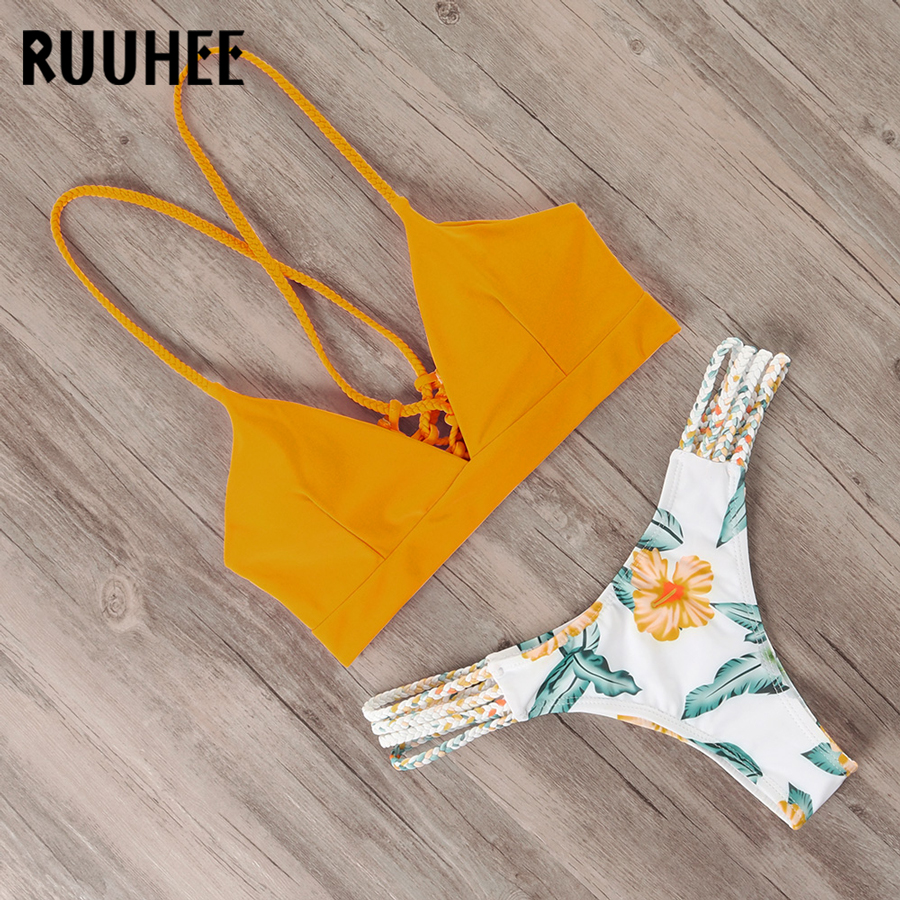 RUUHEE Bikini Swimsuit Swimwear Women Brazilian Bikini Set 2019 Plant Printed Bathing Suit Push Up Pads Beachwear Female Biquini