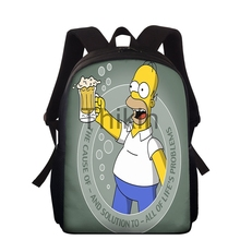 Simpson Print Boys Backpacks For School Waterproof Children School Bags For Girls School Backpacks Kids Mochilas Escolares cheap ThiKin Polyester zipper 260g 38cm cartoon unisex 10 7cm 27cm school bag for girl kids waterproof school backpacks school bags for teenage girls