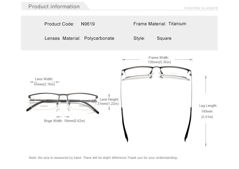 KINGSEVEN DESIGN Men Titanium Alloy Glasses Frame Fashion Male Business Style Ultralight Eye Myopia Prescription Eyeglasses