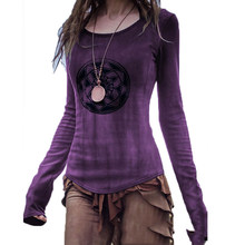 2021 New Costume for Women Medieval Shirts Vintage Print Long Sleeve Tops Gothic Punk Viking Cosplay Renaissance Fancy Clothing