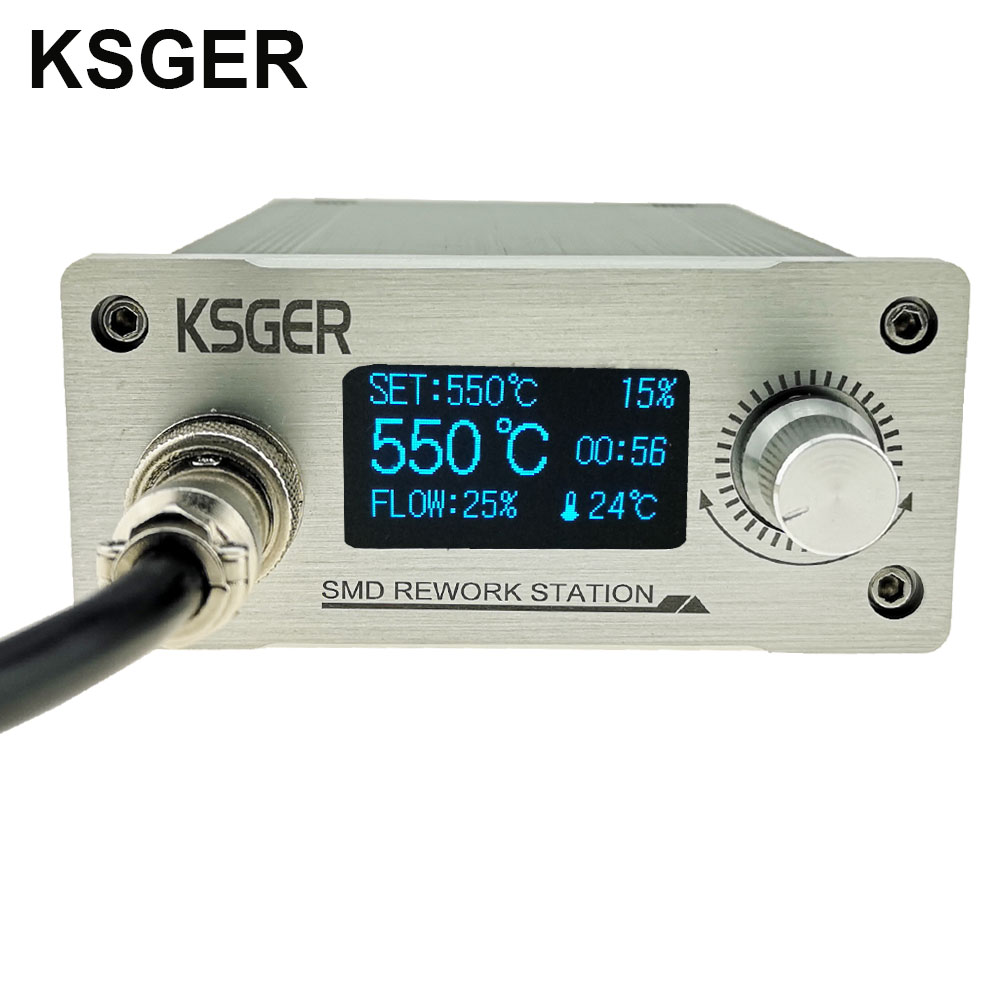 Image 3 - KSGER Hot Air Gun SMD Rework Station GX16 8 Solder Dryer Handle Electronic OLED T12 Nozzle Stand DIY Tools Quick Heating 700WElectric Soldering Irons   - AliExpress