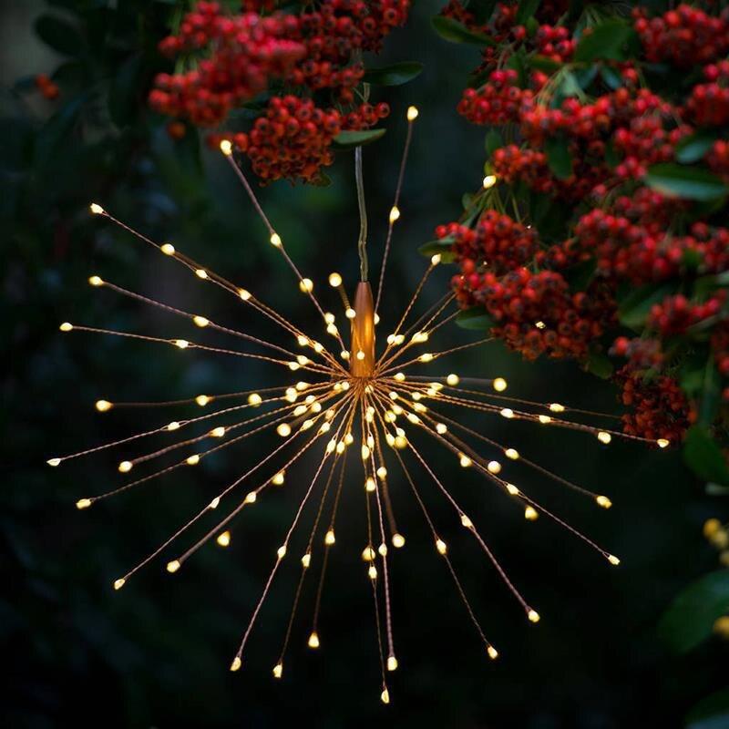 Solar Fireworks Light Led Copper Lights Wedding Garden Decoration Holiday Lights