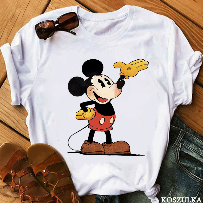 Devil Mickey Print T-shirt Ladies Tee Casual O-neck Short-sleeved Harajuku Cool T-shirt Women's Shirt 2020 Summer New