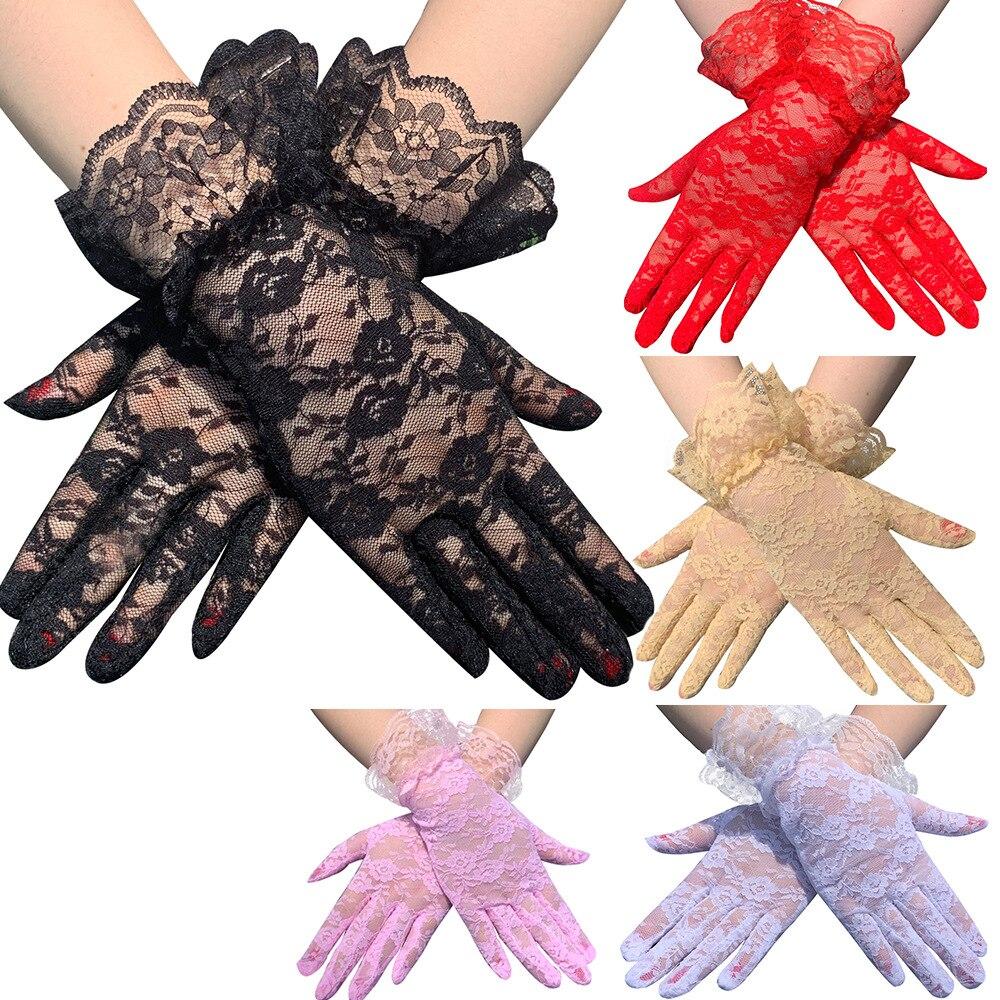 Elegant Courtesy Summer Women Lace Gloves Floral Lace Gloves Sun Protection Lace Gloves Dressy Gloves For Wedding Dinner Parties