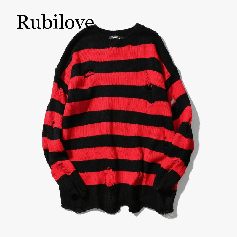 Black Red Striped Hole Knit Sweaters Autumn Winter Sweater Fashion Long Paragraph Oversized Jumpers Men All-match Clothing
