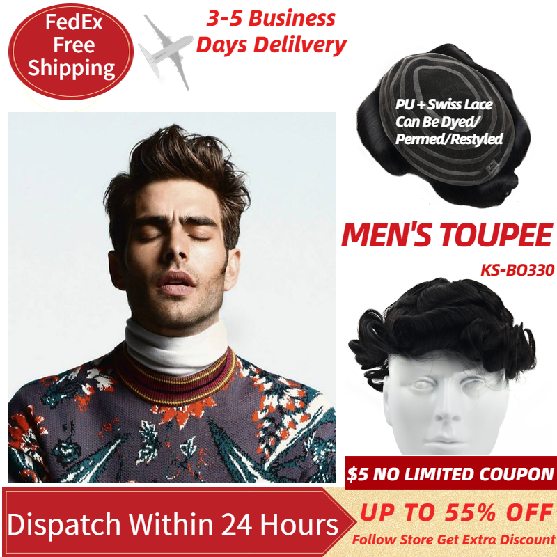 MW Swiss Lace +PU Base Men Toupee Wig Human Hair Pieces Natural Black 6 Inches Topper Wig For Men Hair Replacement Fast Delivery