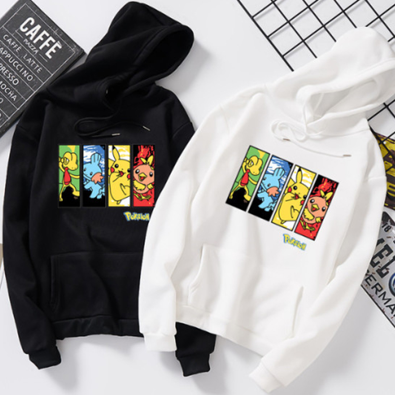 Pokemon Fun Print Anime Hoodie Autumn Winter Pocket Long Sleeve Men's Sweatshirt Oversized Harajuku Hip Hop Balck White Clothes
