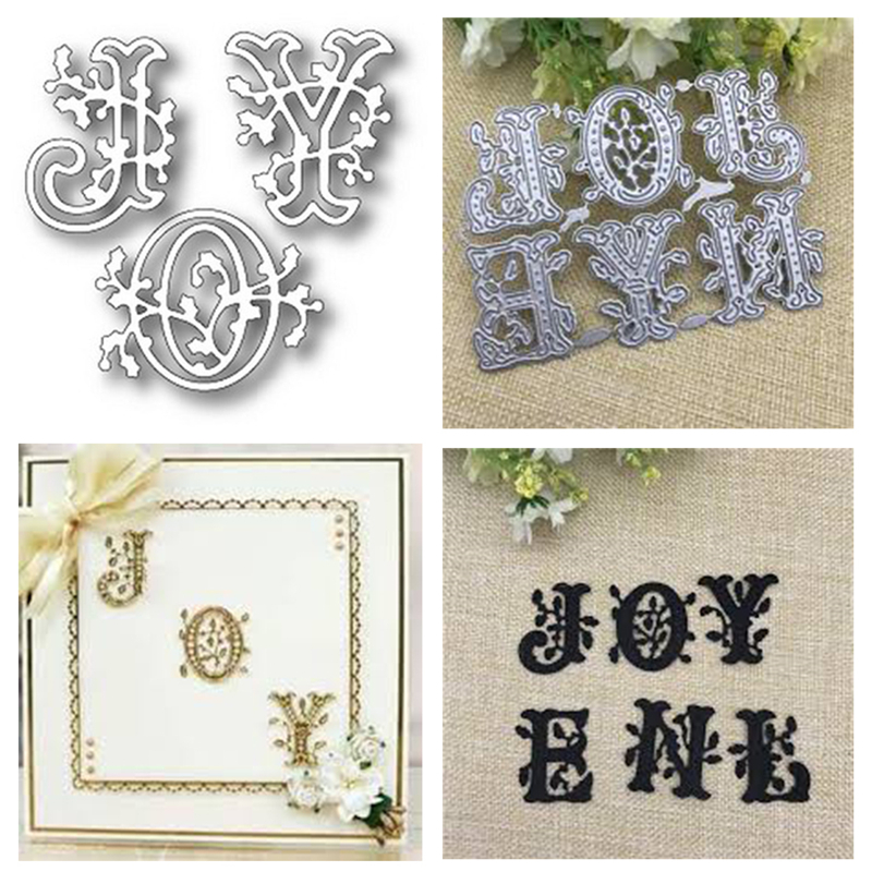 Naifumodo Lace Flower Joy Metal Cutting Dies Stencils for DIY Scrapbooking CRAFT Paper Cards Making Photo Decor Embossing