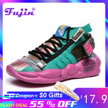 Fujin Women Vulcanized Shoes Summer Tape Sneaker 2019 Spring Autumn Knitting Breathable Shoe Chunky Platform Sneakers
