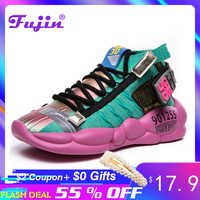 Fujin Women Vulcanized Shoes Summer Tape Sneaker 2019 Spring Autumn Knitting Breathable Shoe Chunky Platform Sneakers Women