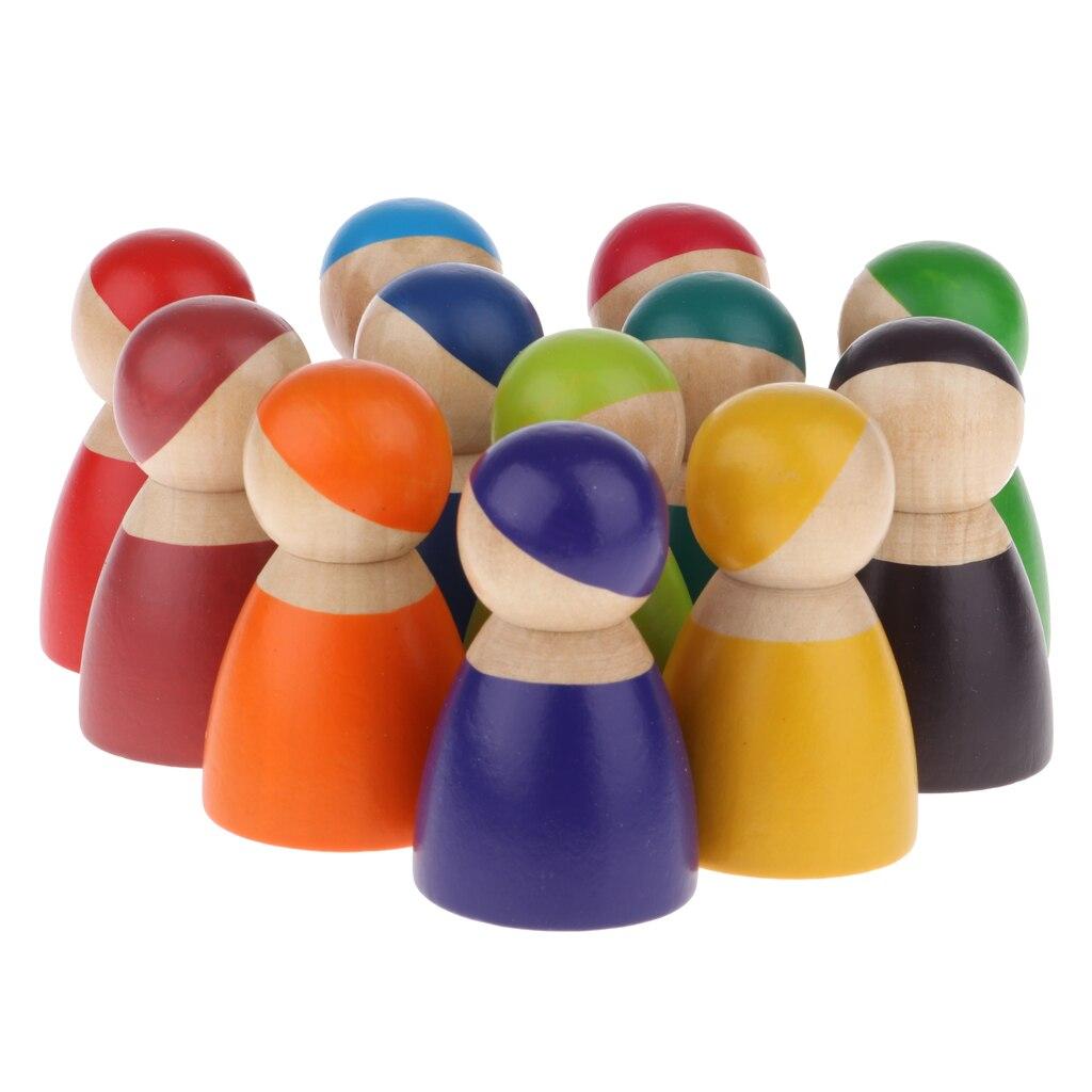 Set von 12 Miniatur Regenbogen Peg Puppen, Pretend Spielen Holz menschen Figuren, Dekorative Spielzeug