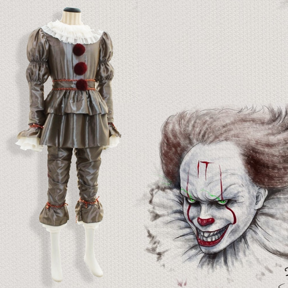 Costume d'halloween Pennywise il Clown adulte Costume de Cosplay Costume de fête d'halloween pour homme et femme