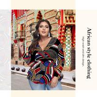 Opslea African Women Cross V-Neck Long Sleeve Top Dashiki Autumn New Casual Large Size Slim Waist Clothing Milk Silk Fabric