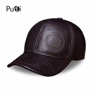 Image 2 - HL023 Spring genuine leather men baseball cap hat  high quality mens real leather adult solid adjustable snapback earsflap hats