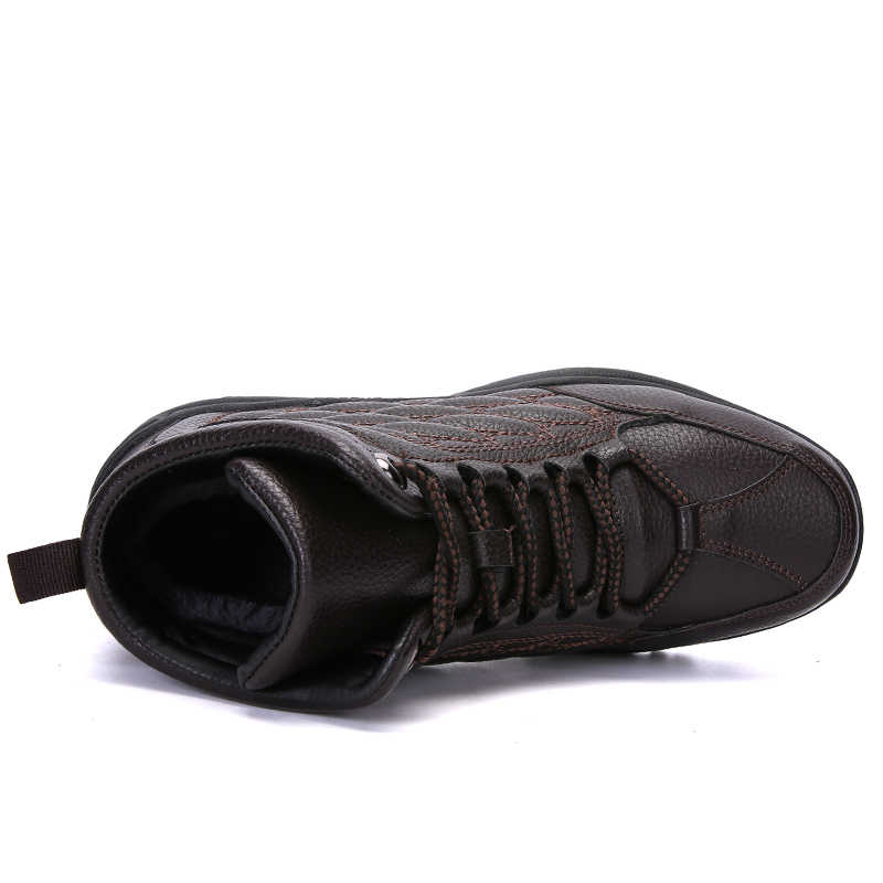 Pndodo Mannen Casual Lederen Schoenen Winter Warm Houden Pluche Formele Instappers Mocassins Mannelijke Sneakers Mode Mannen Lederen Laarzen Plus 45