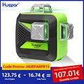 Лазерный уровень Huepar, самонивелирующийся 12-линейный зеленый 3D-лазер перекрестный с вращением на 360, вертикальный и горизонтальный, зарядка ...