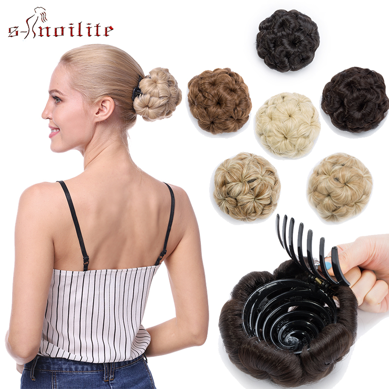 S-noilite 65g Curly Chignon Clip In Hairpiece Extension Donut Chignon Hair Bun For Women Synthetic High Temperature Fiber