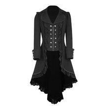 Women Tailcoat Jacket Goth Steampunk Uniform Costume Party Long Sleeve Retro Lace Trim Button Up Outwear Coat Outwear 9.21