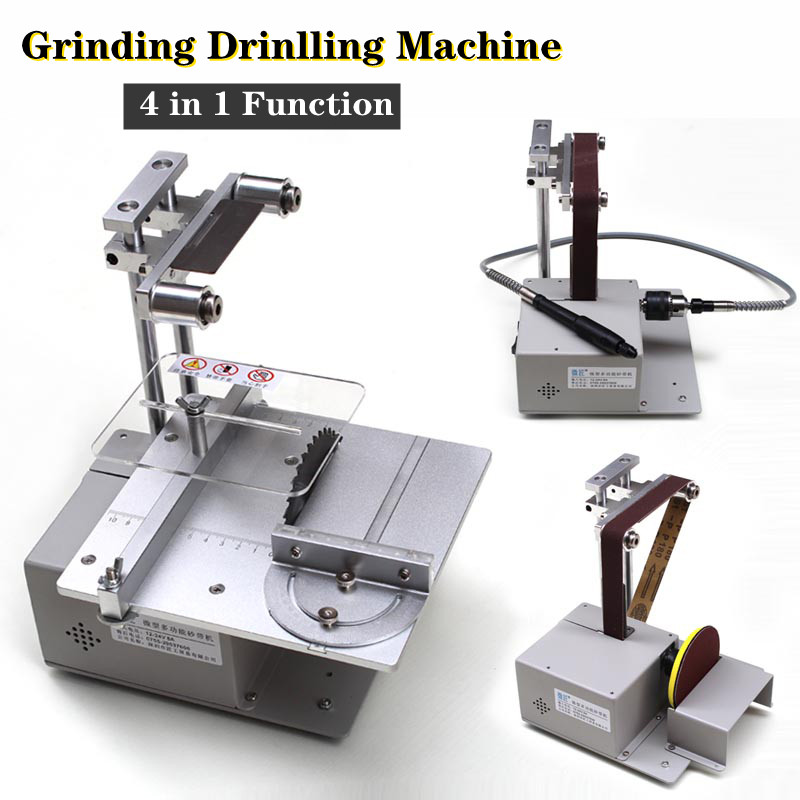 Multifunctional Mini Table Saw Belt Sander Grinder Handmade Woodworking Polishing Grinding Sanding Machine Cutting Saw