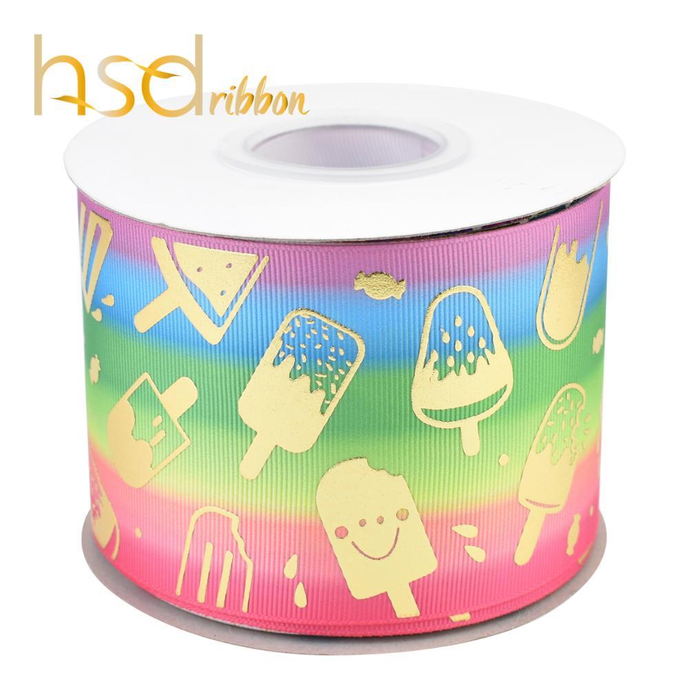 HSDRibbon 75 MILLIMETRI 3 pollici Designer custom Ice cream oro Foil Stampato sul Nastro Del Grosgrain-in Nastri da Casa e giardino su  Gruppo 3