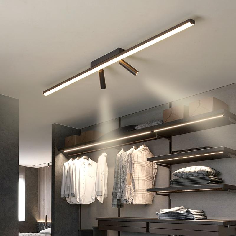 Luces de techo LED modernas simples, negras, para dormitorio, sala de estar, pasillo, guardarropa, balcón, cocina, AC90-260V, lámpara de techo