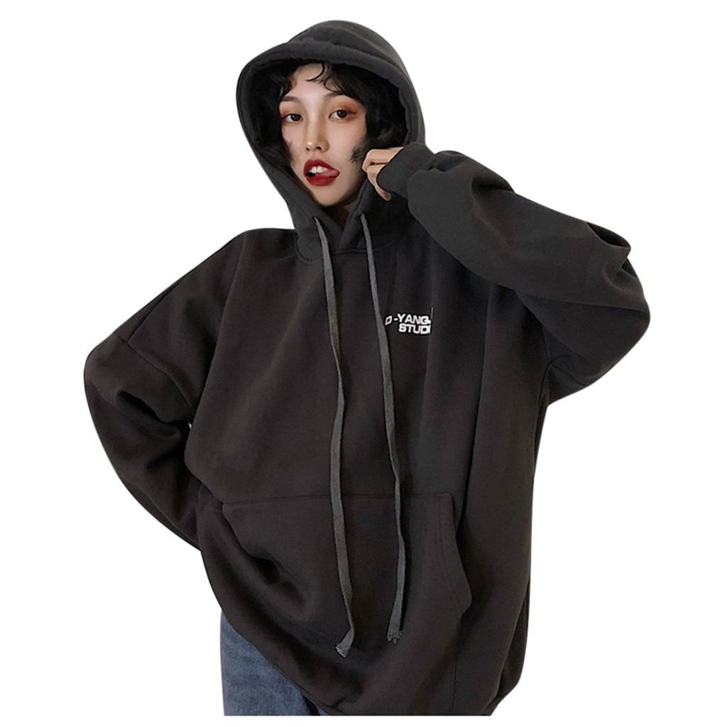 Women Casual Long Sleeve Letter Printed  Loose Sweatshirt Pullover Blouse hoodies худи женские 2020