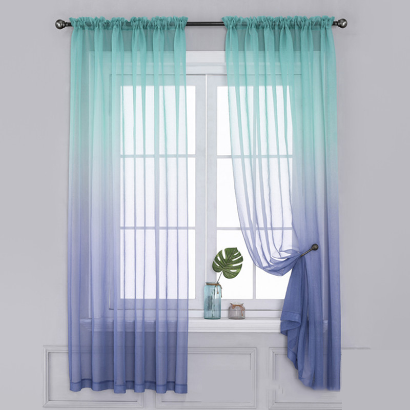 Modern Color Curtains Gradient Screens, Kitchen And Bathroom Window Curtains