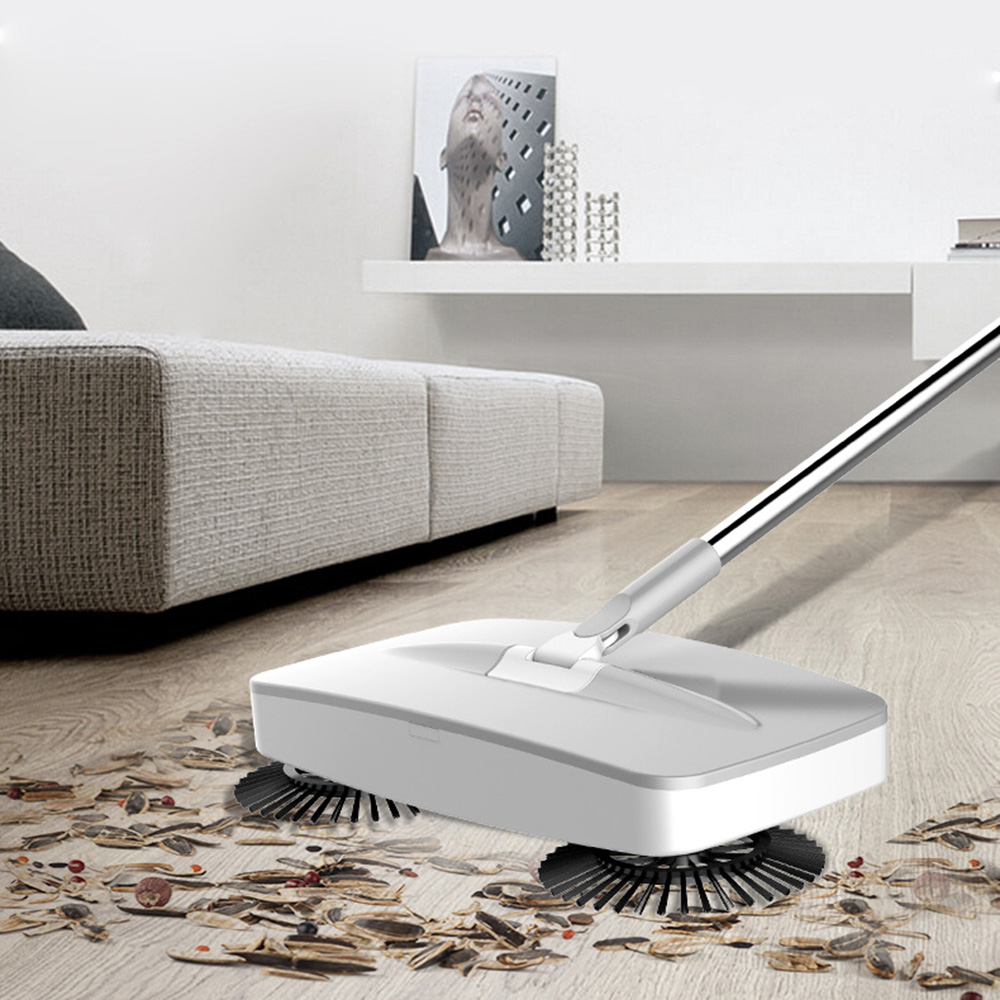Hand Push Sweeper 2 in 1 Sweeping Mop with Garbage Chute Household Cleaning 360 Degree Hand Push Automatic Sweeper Broom