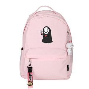 Image 3 - Spirited Away No Face uomo donna zaino rosa zaino piccolo Kawaii zaino da viaggio impermeabile borse da scuola per gatti carino Bookbag rosa