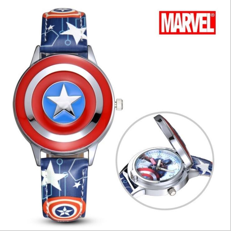 Marvel Avengers Captain America Spiderman Ironman  Watch Child Leather Quartz Flip Metal Case Watches Super Hero Boys Clock