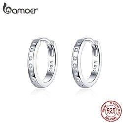 BAMOER Hoop küpe kadınlar için 925 ayar gümüş Minimalist basit daire küpe gerçek gümüş kore modası takı BSE101