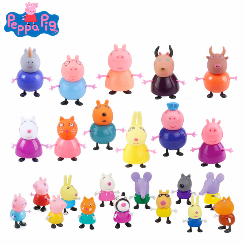 25pk Peppa Pig George Pig Family Dad Mom Pig Friend Anime Action Figure Model Doll Child Birthday Xmas Gift