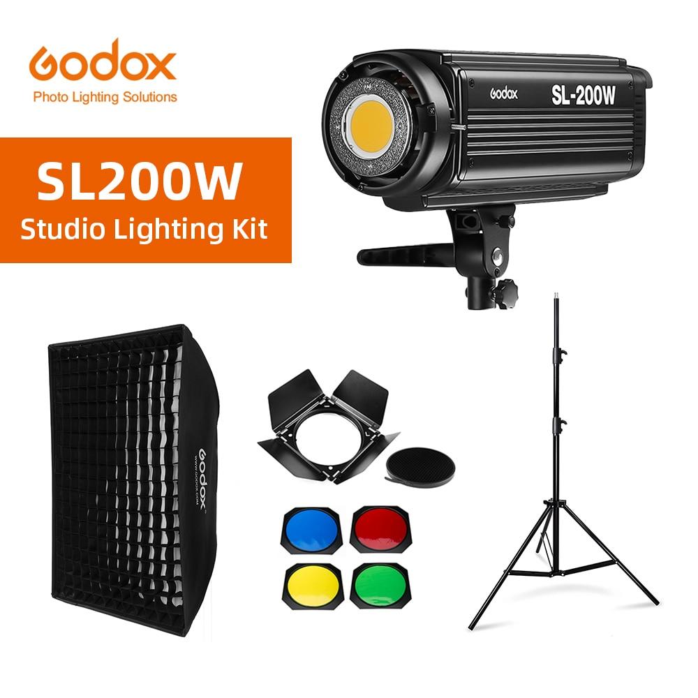 Godox SL-200W SL200W 5600K белая версия ЖК-панель непрерывный светодиодный видео свет + 70x100 см софтбокс + 2,8 м оссветильник ительная стойка + дверь сарая