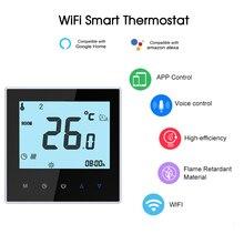 Умный термостат с электрическим подогревом, Wi-Fi, контроль температуры, голосовое управление, совместим с Amazon Echo/Google Home