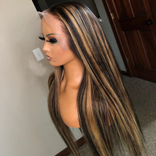 Ombre Color Straight 13x6 Lace Front Human Hair Wigs With Baby Hair Pre Plucked Remy Brazilian Lace Long Wigs Bleached Knots