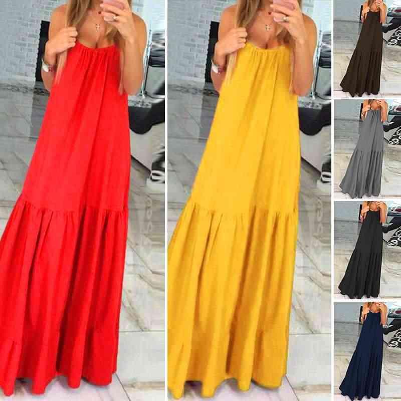 VONDA Bohemian Kleid 2020 Sommer Sommerkleid Frauen-Sleeveless Rüschen Schaukeln Lange Kleid Urlaub Vestido Plus Größe