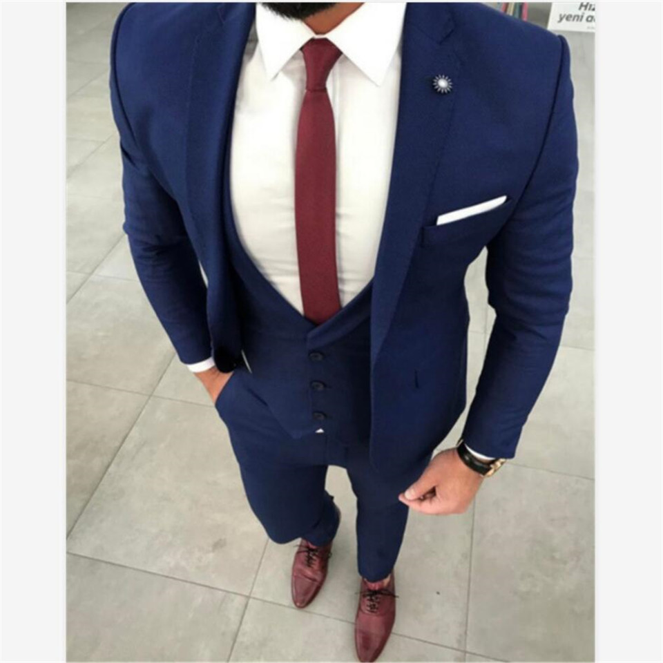 New Classic Men's Suit Smolking Noivo Terno Slim Fit Easculino Evening Suits For Men Navy Blue Prom Tuxedo Groom Blazer Masuclin