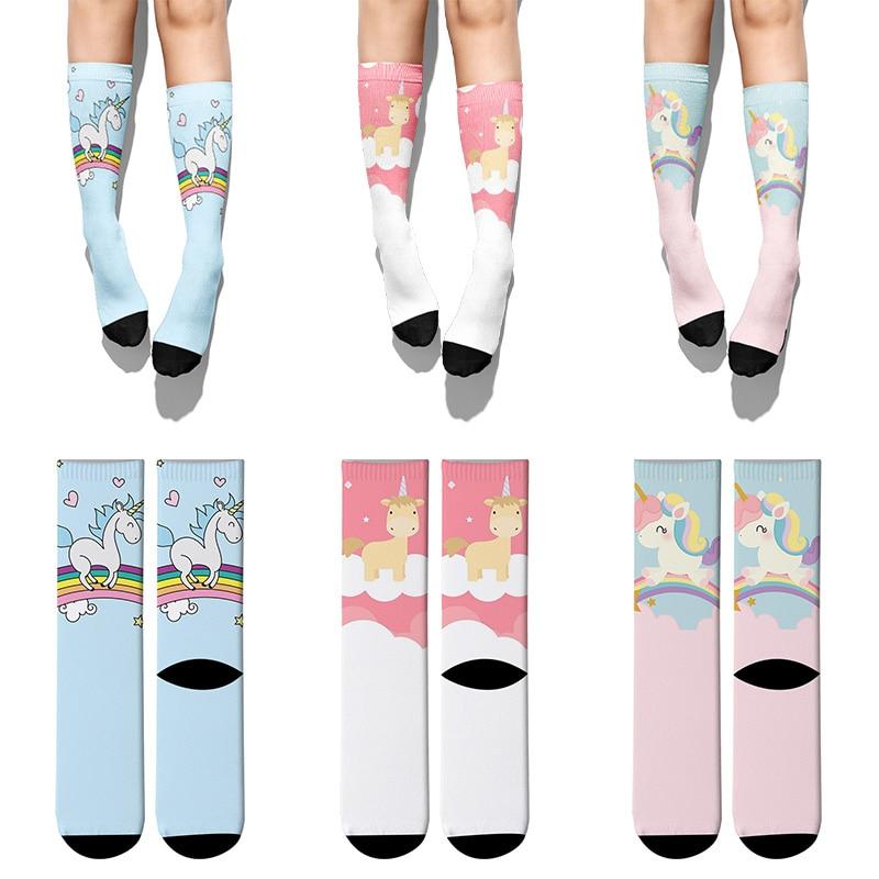 Новые милые хлопковые носки с единорогом для женщин, забавные женские носки с милыми мультяшными животными, модные мужские и женские носки, ...