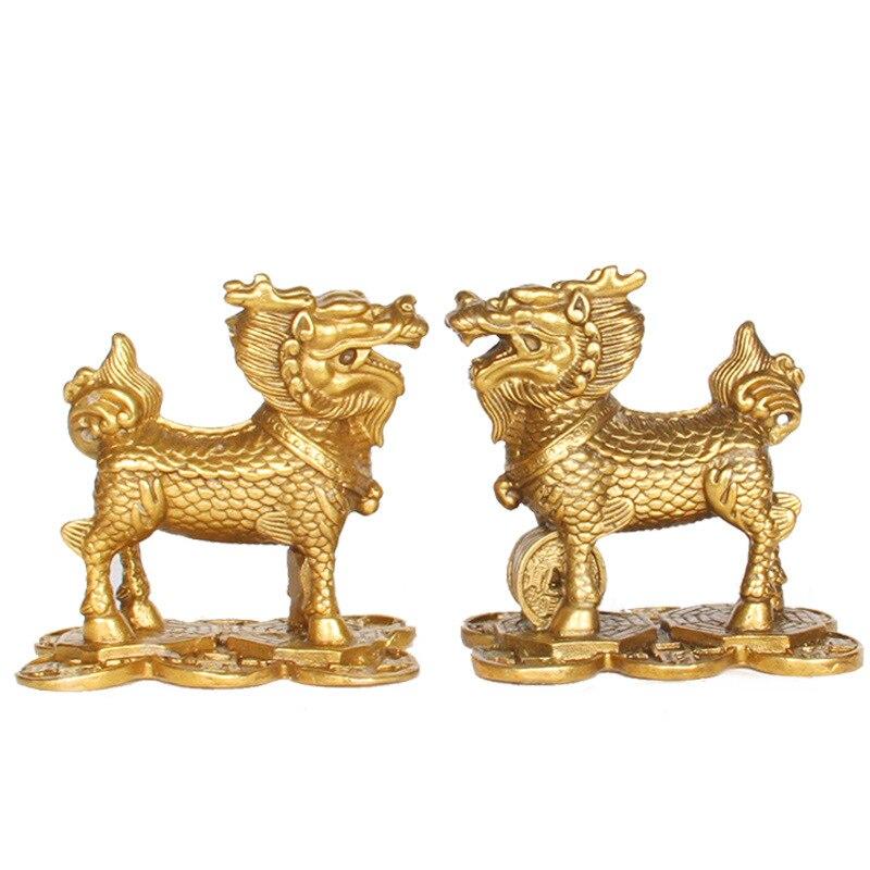 Ev ve Bahçe'ten Statü ve Heykelleri'de LAOJUNLU bronz saf bakır Qilin süsler para Kylin el sanatları  para kyrin title=